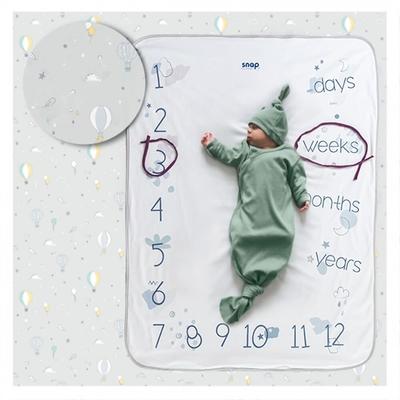 【波蘭Snap The Moment】寶寶寫真毯-Pastel Grey(抗菌銀離子 雙面可用 拍照毯 嬰兒毯)