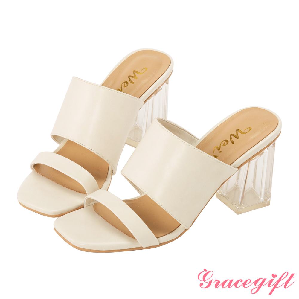 Grace gift X Wei-聯名素面寬帶透明高跟涼鞋 米白