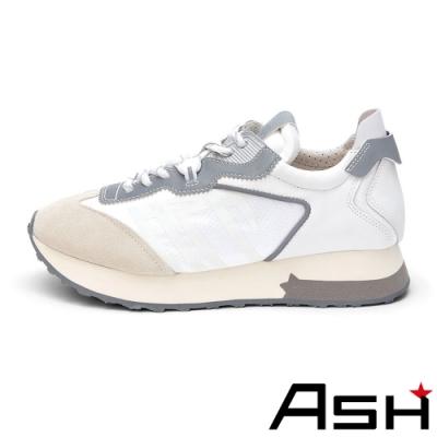 ASH-TIGER時尚潮流拼接撞色厚底鞋增高慢跑鞋-白