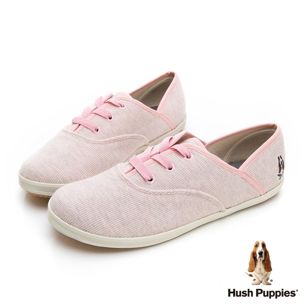 Hush Puppies 粉彩羅紋咖啡紗帆布鞋-淺粉