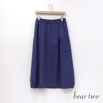 bear two- 條紋拼接直筒寬裙 - 藍