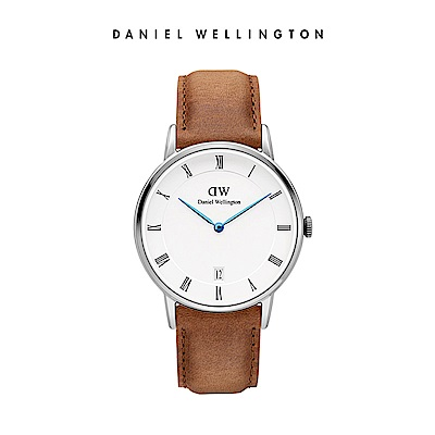DW 手錶 官方旗艦店 34mm銀框 Dapper 淺棕真皮皮革