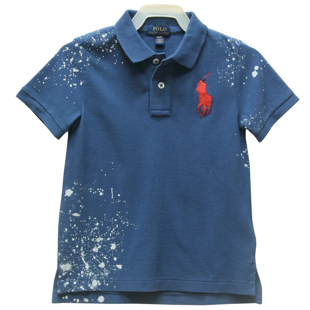 Ralph Lauren童裝經典大馬星空圖騰短袖POLO衫-藍(4/4T)