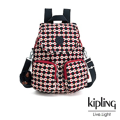 Kipling 節慶感紅黑幾何圖騰掀蓋後背包-FIREFLY UP
