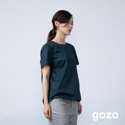 gozo 素面後排扣蕾絲拼接上衣(二色)