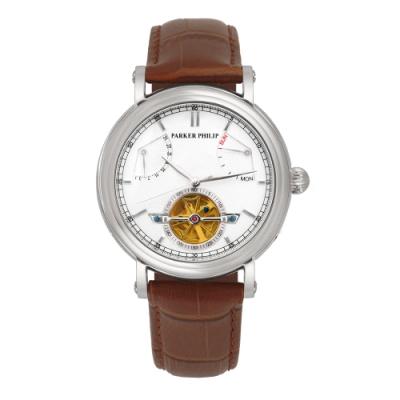 PARKER PHILIP派克菲利浦飛返指針鏤空擺輪限量機械錶(銀殻/白面/咖帶)