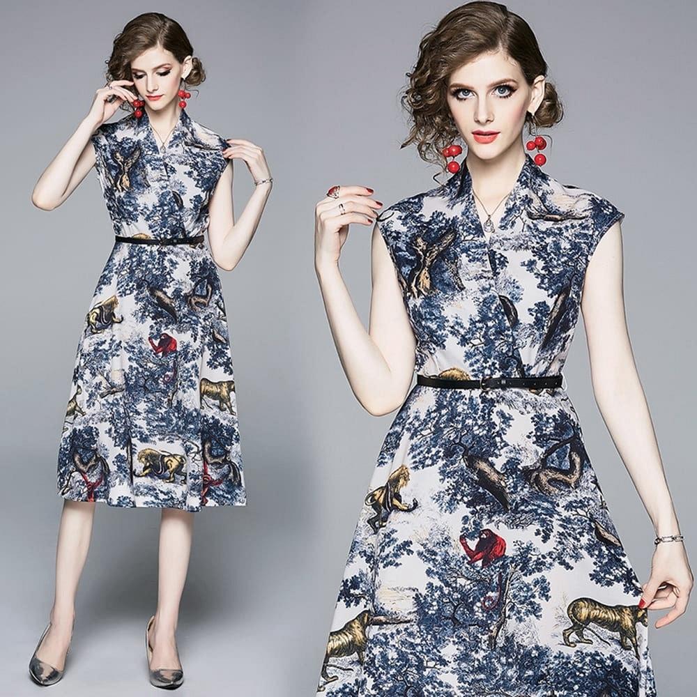 氣質彩繪印花Y領無袖時尚腰帶飄逸A字裙洋裝M-2XL-M2M