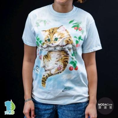 摩達客-美國進口The Mountain 櫻桃小貓 純棉環保藝術中性短袖T恤