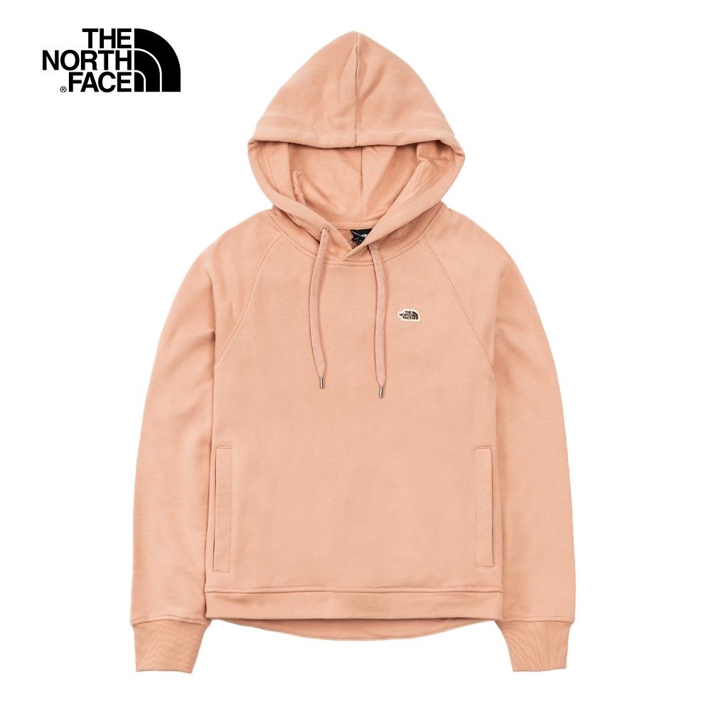 The North Face北面女款粉色刺繡LOGO連帽大學T|4UA8V3R