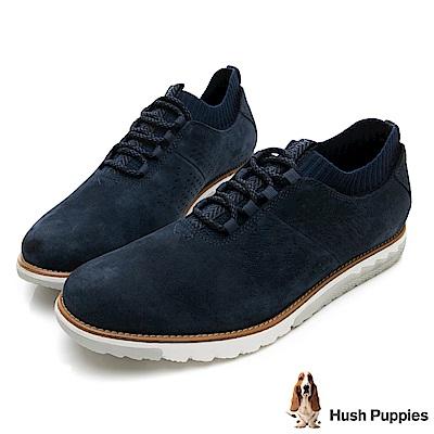 Hush Puppies EXPERT 透氣皮革健走鞋-深藍