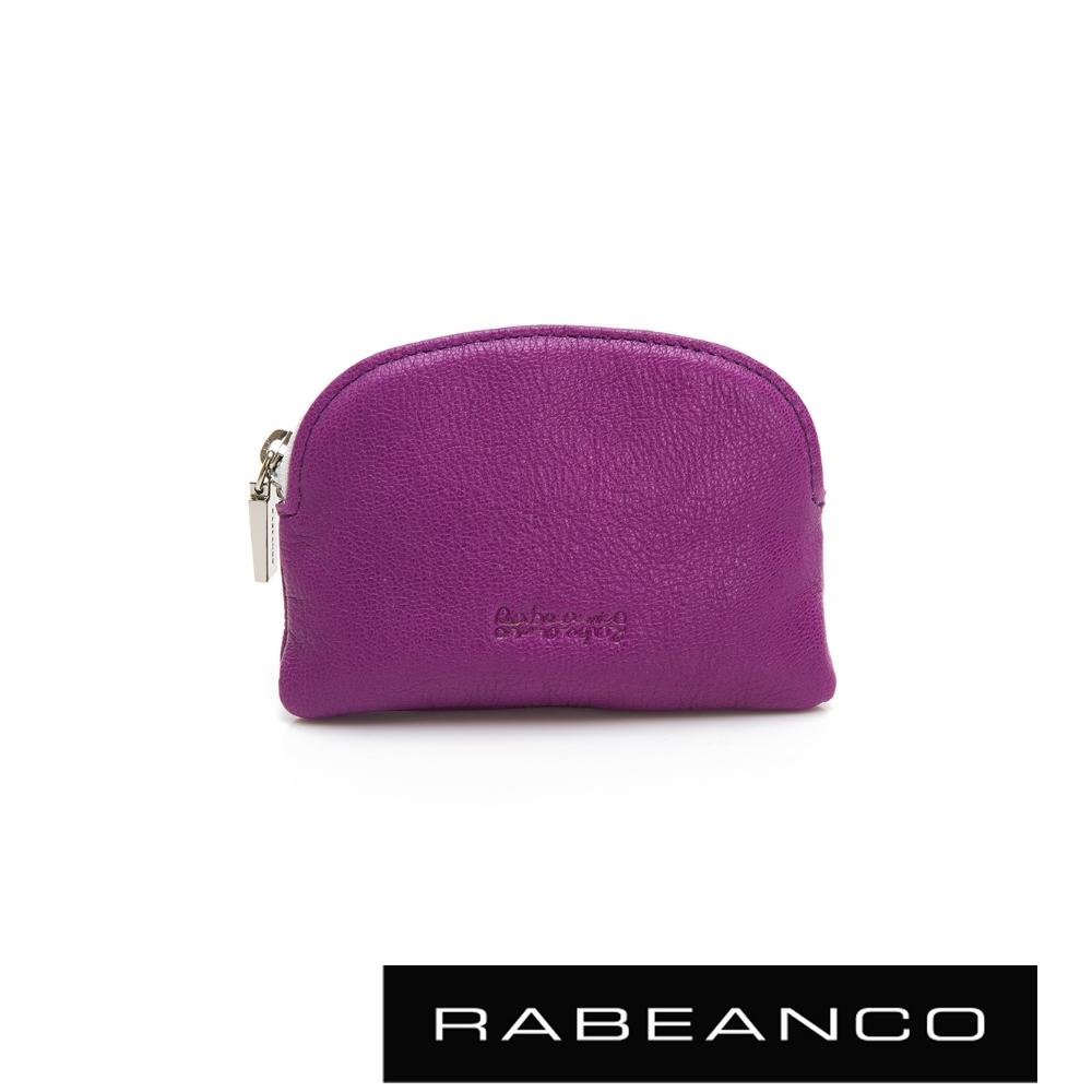 RABEANCO 迷色彩羊皮系列亮彩拉鍊零錢包 紫