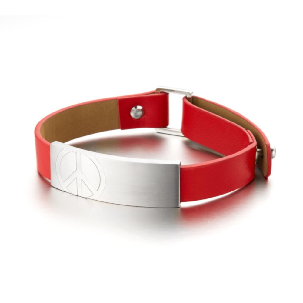 &MORE愛迪莫 Peace皮革鍺手環(男款)炙焰紅