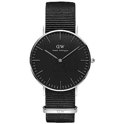 DW Daniel Wellington 經典簡雅黑色帆布帶石英腕錶-銀框/36mm