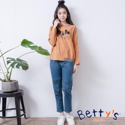 betty's貝蒂思 潑墨設計方塊縫線牛仔褲(淺藍)