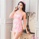 Anna Mu女僕裝粉紅美背圍裙式女僕角色扮演服五件組-粉