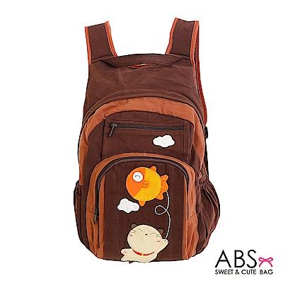 ABS貝斯貓 Fish&Cat 拼布雙肩後背包(咖啡)88-168