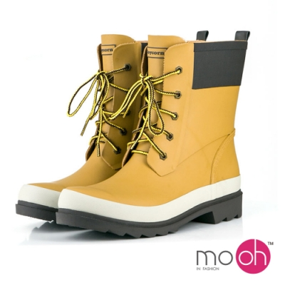 mo.oh 愛雨天-情侶款綁帶中筒防水雨鞋-黃棕色