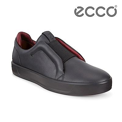 ECCO SOFT 8 M 撞色套入式休閒鞋 限定色 男-黑紅