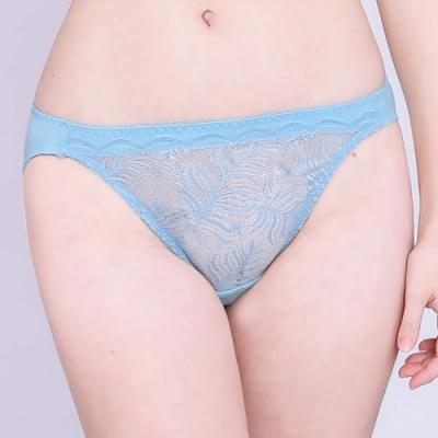 思薇爾 夏之戀人系列M-XL蕾絲低腰三角內褲(礦水藍)