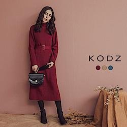 東京著衣-KODZ 時髦名媛附綁帶立領多色針織洋裝-S.M.L(共三色)