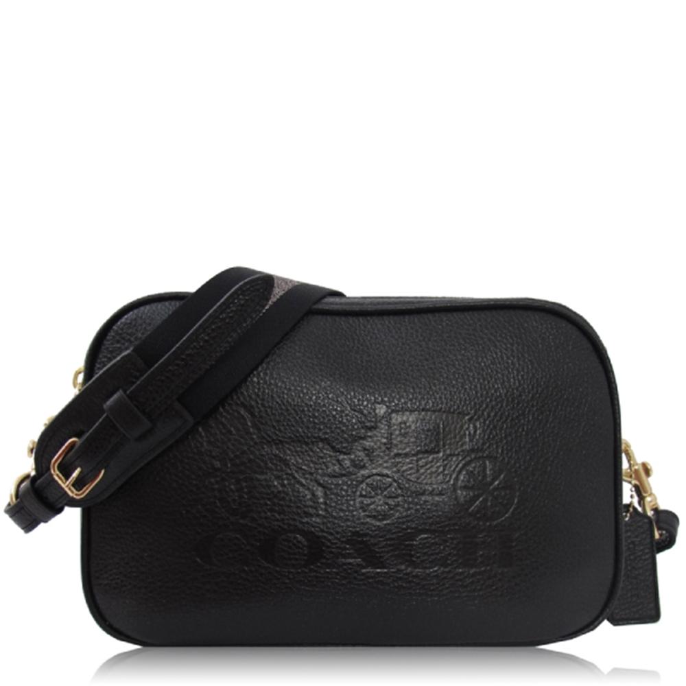 COACH 鵝卵石皮革壓印 / 雙層 相機斜背包(大款/黑色)