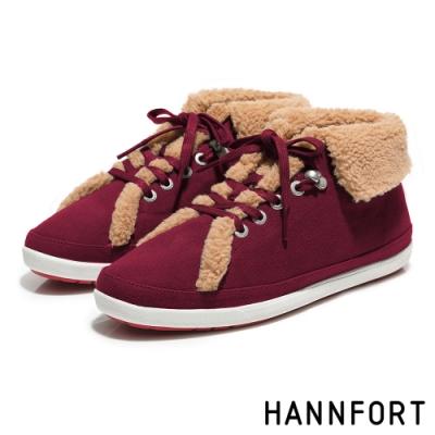 HANNFORT CALIFORNIA翻領羊毛氣墊帆布鞋-女-深磚紅