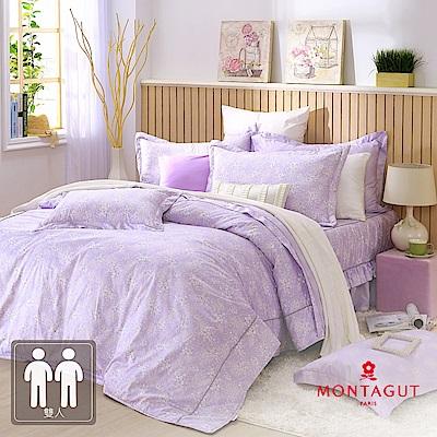 MONTAGUT-菊色天堂(紫)-200織紗精梳棉-鋪棉床罩組(雙人)