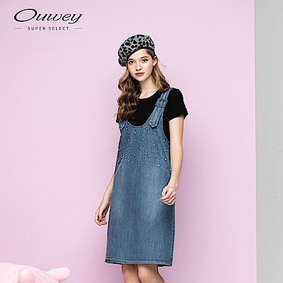 OUWEY歐薇 兩件式釘珠吊帶洋裝(藍)