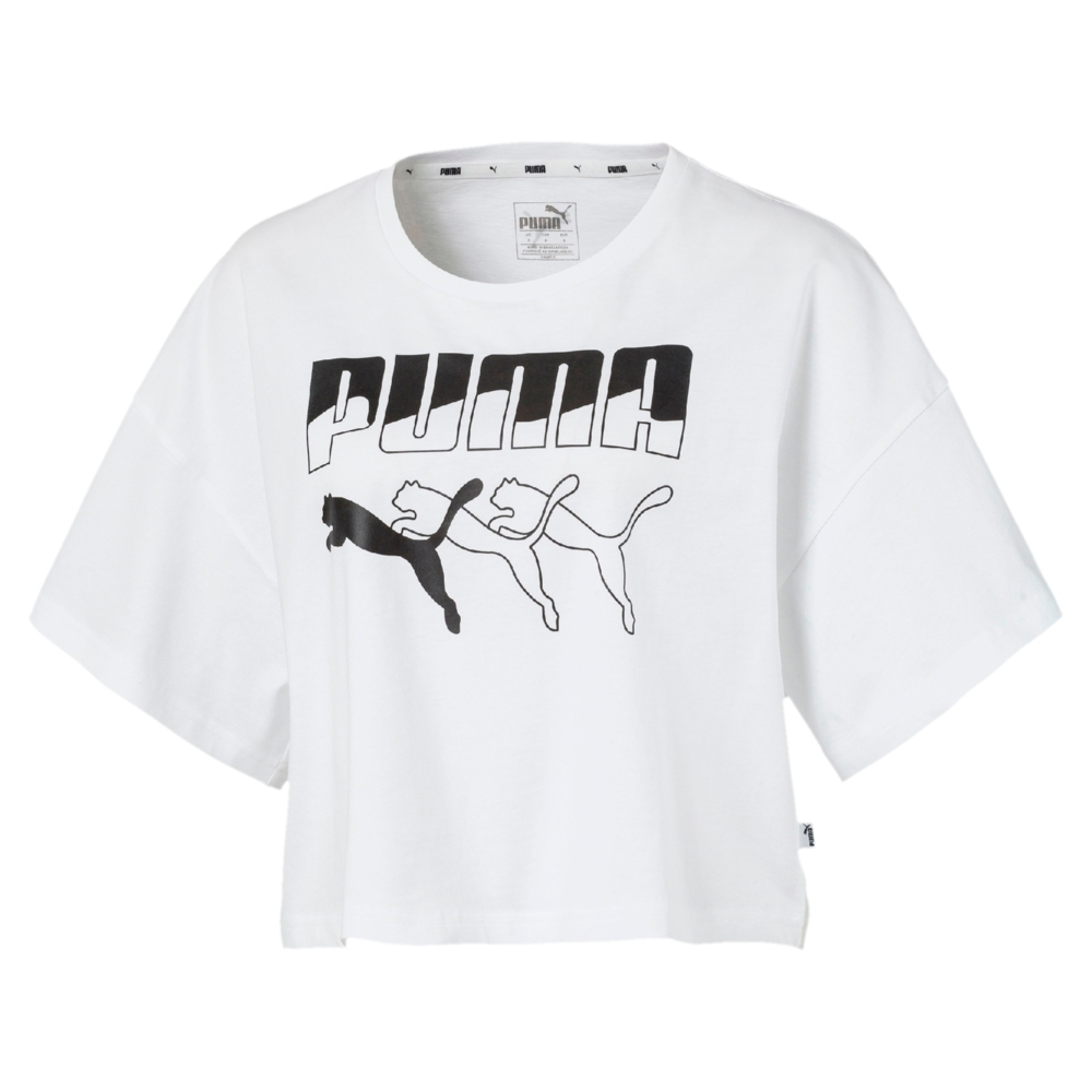 【限時快閃】PUMA 流行系列 男女短T恤 (多款任選) (D款_白)