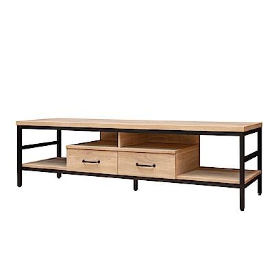D&T德泰傢俱格萊斯原切木輕工業風7尺TV櫃-210.8x44.9x46.5cm