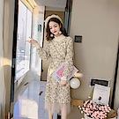 DABI 韓系碎花圓領網紗收腰長袖洋裝