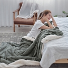 BUHO 文青感質純色法蘭絨/羊羔絨雙層暖絨毯(150x200cm)-慵懶灰