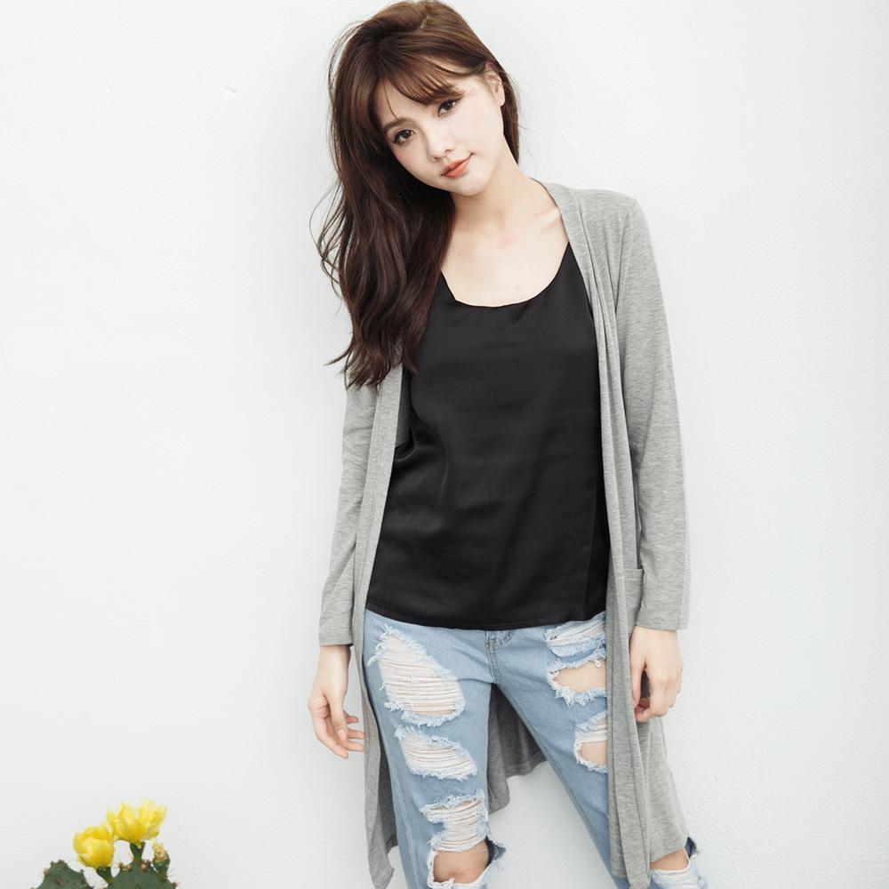 SUPER COLOR 韓版垂墜質感長版薄外套/罩杉-灰色