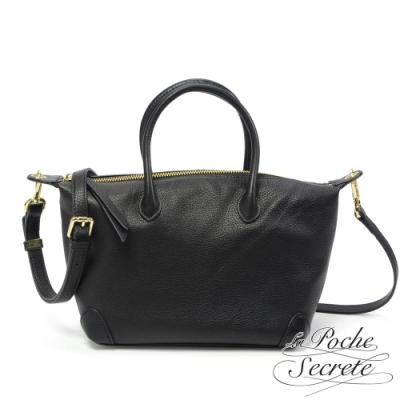 La Poche Secrete側背包 簡約真皮手提側背水餃包-百搭黑