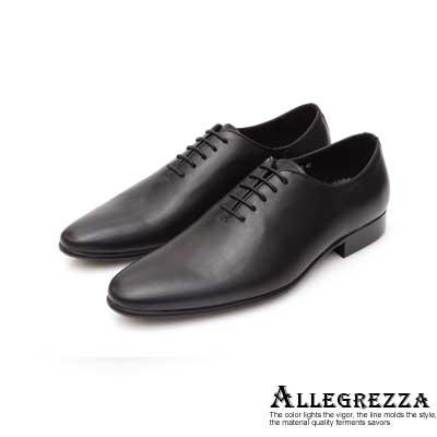 ALLEGREZZA真皮男鞋-簡約魅力-素面復古皮革繫帶皮鞋 黑色