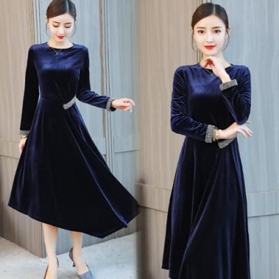 【韓國K.W.】加絨保暖氣質優雅洋裝