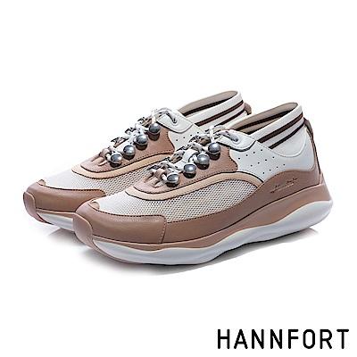 HANNFORT BUBBLES流線復古厚底跑鞋-女-甜美粉