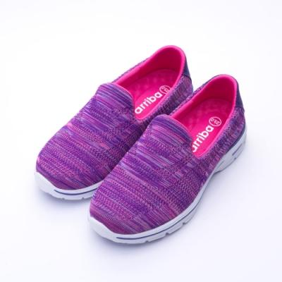 艾樂跑Arriba女款 針織輕量懶人鞋 便鞋-紫/黑 (FA-505)