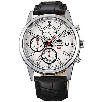 ORIENT 透徹時光三眼計時運動石英腕錶皮帶(FKU00006W0)-白x42mm