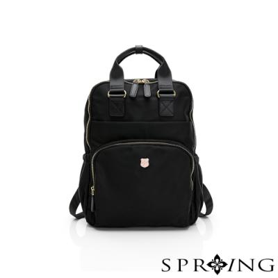 SPRING-未來質感系列尼龍手提兩用後背包-經典黑