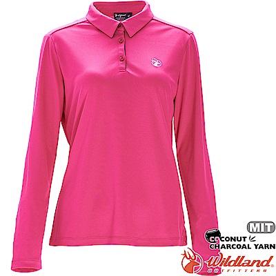 Wildland 荒野 0A71661-20玫瑰紅 女椰炭紗本布領長袖上衣