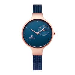 OBAKU 摩登女性奢華腕錶-藍色X玫瑰金-V201LDVLML