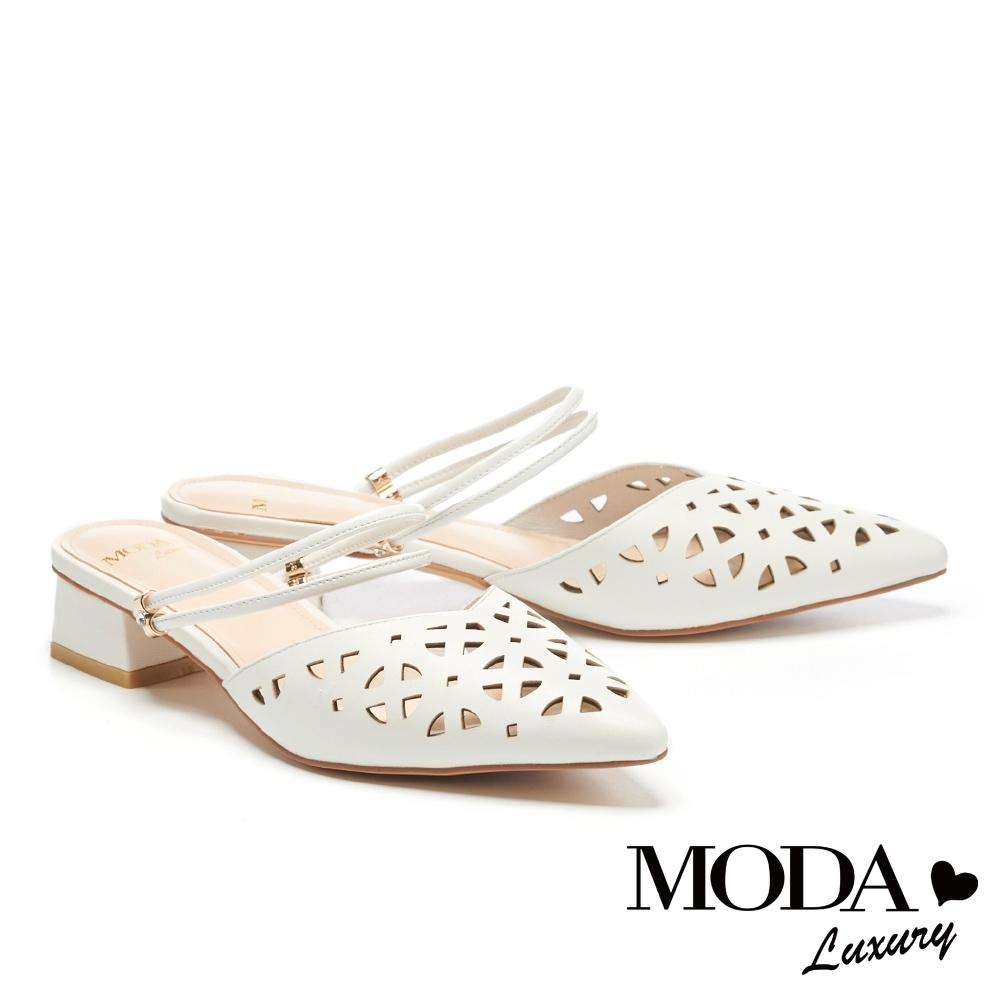 拖鞋 MODA Luxury 品味沖孔羊皮繫帶尖頭穆勒低跟拖鞋-白