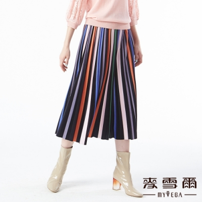 【麥雪爾】彩色植絨條紋百褶長裙