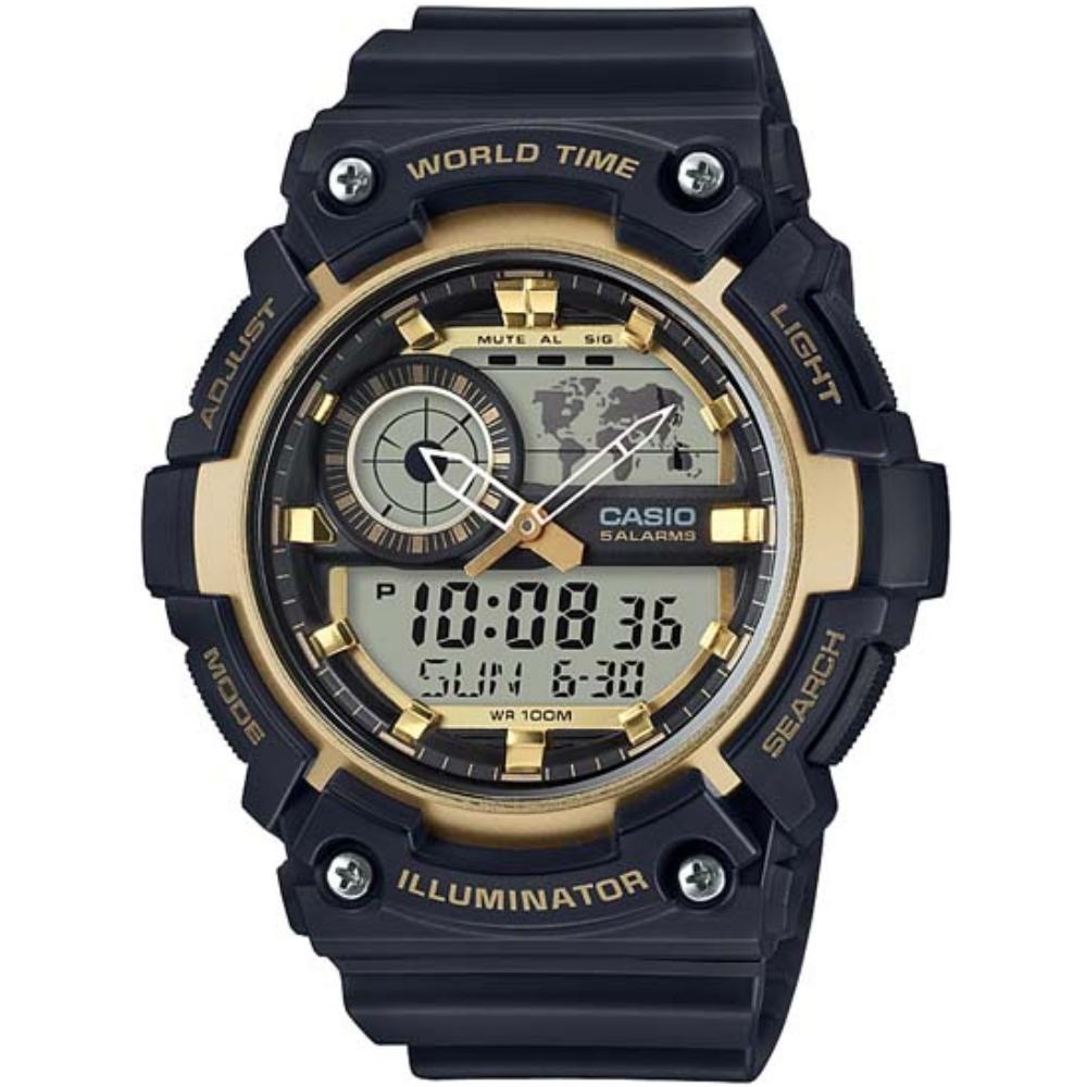 CASIO 世界地圖雙顯多功能腕錶-金(AEQ-200W-9A)/51.4mm