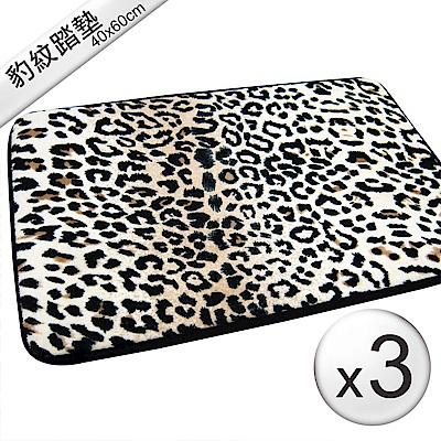 范登伯格 - 豹紋 時尚奢華踏墊-(三入組  - 40x60cm)