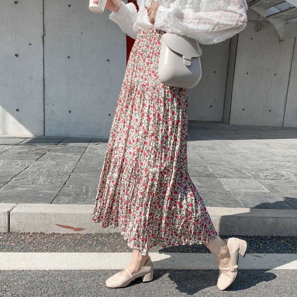 La Belleza鬆緊腰小玫瑰花壓折滑料百摺裙大擺裙(有內襯)