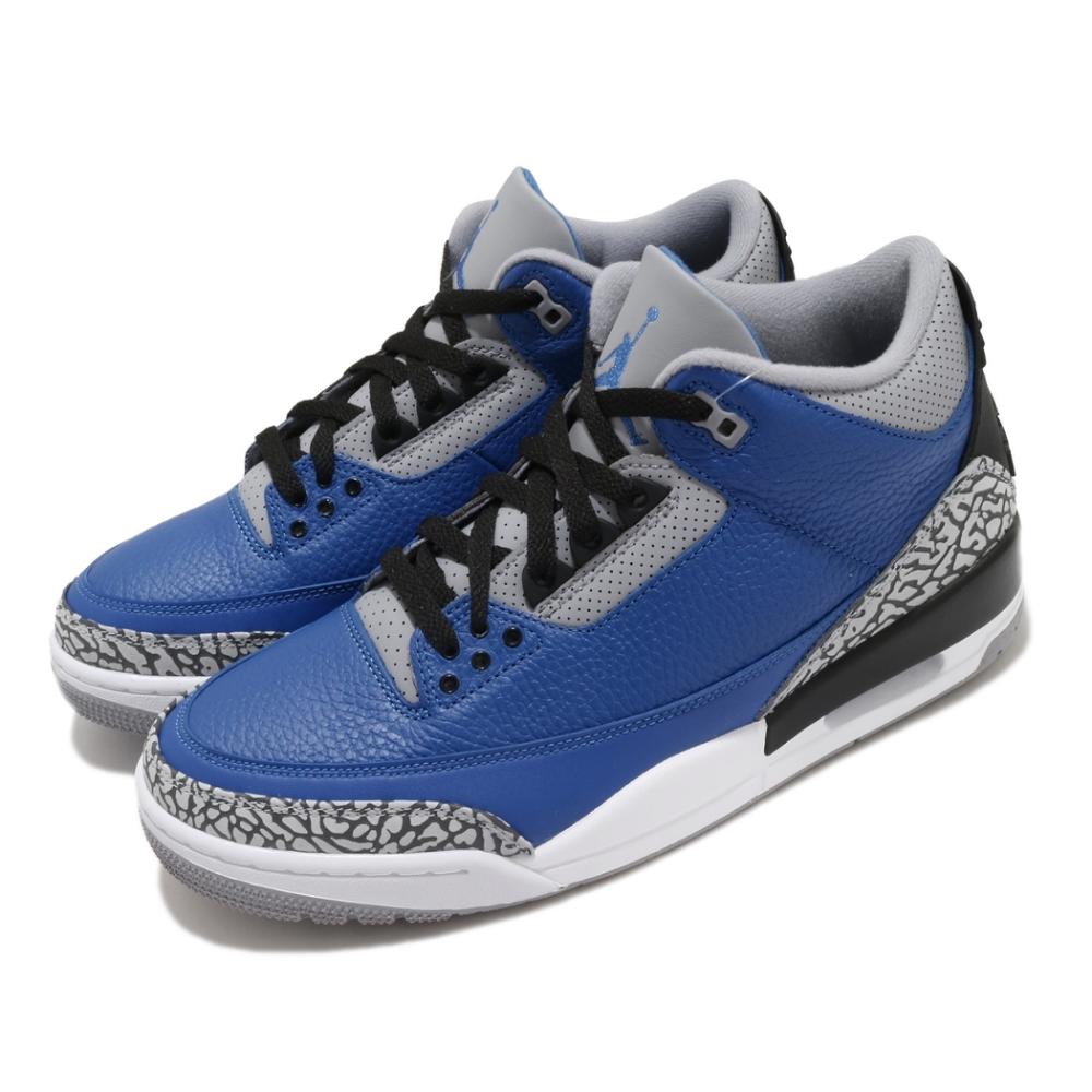 Nike 籃球鞋 Air Jordan 3 Retro 男鞋 經典 喬丹三代 爆裂紋 復刻 球鞋 藍 黑 CT8532400