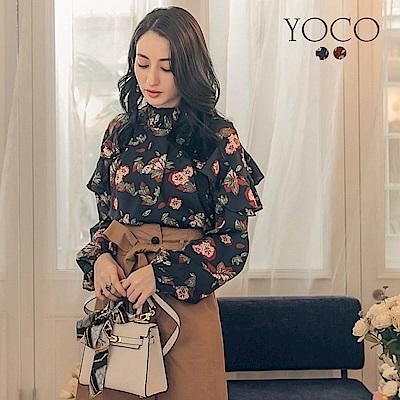 東京著衣-yoco 韓國歐逆荷葉肩袖印花上衣-S.M.L(共二色)