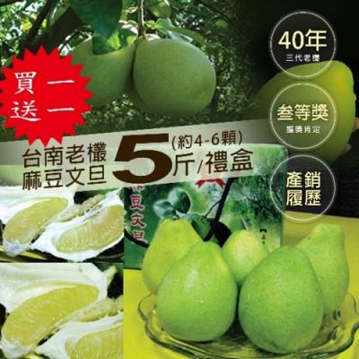 買1送1組-築地一番鮮-40年老欉台南麻豆文旦5斤禮盒(4-6顆)